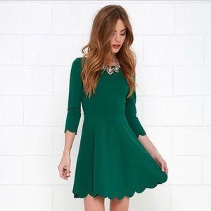 Lulus Dark Green Scalloped Skater Dress